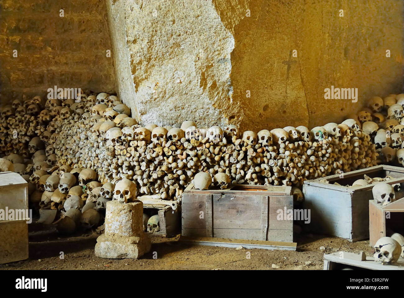 Naples, Italy : Cemetery of Fontanelle, the ossuary Stock Photo