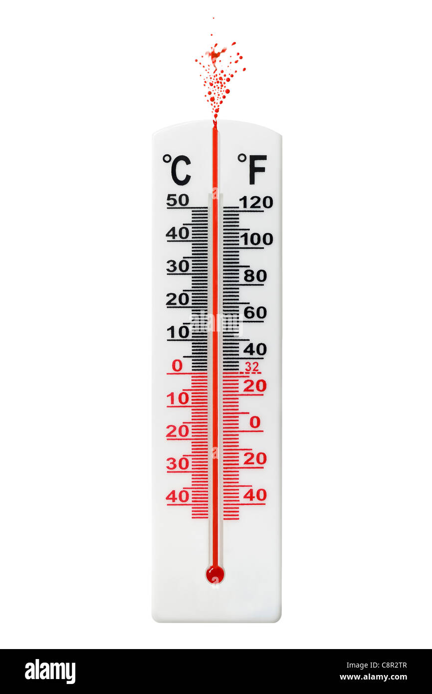 Thermometer with Mercury Exploding Out of the Top. - Stock Image