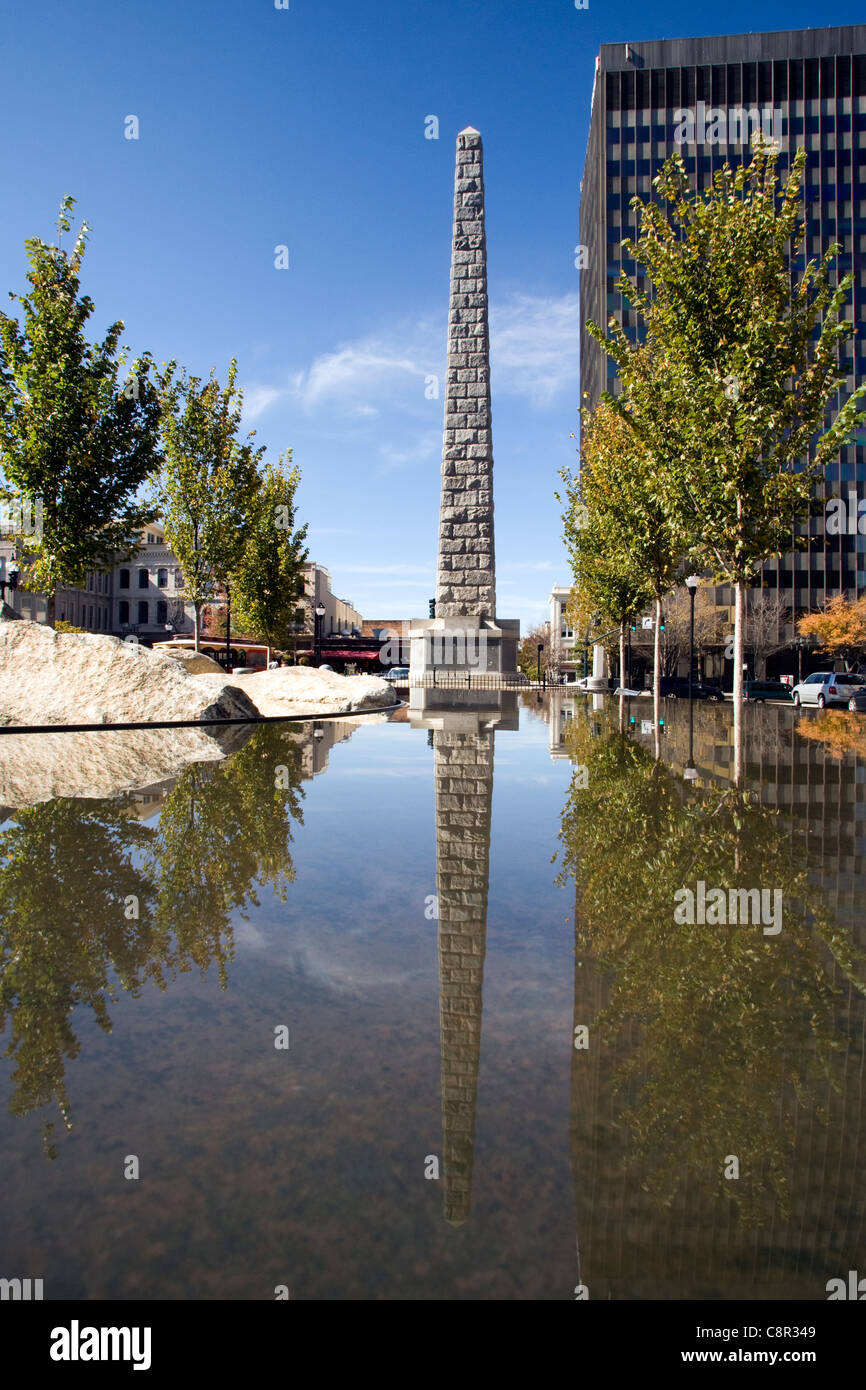 Vance Monument in Pack Square - Asheville, North Carolina USA - Stock Image