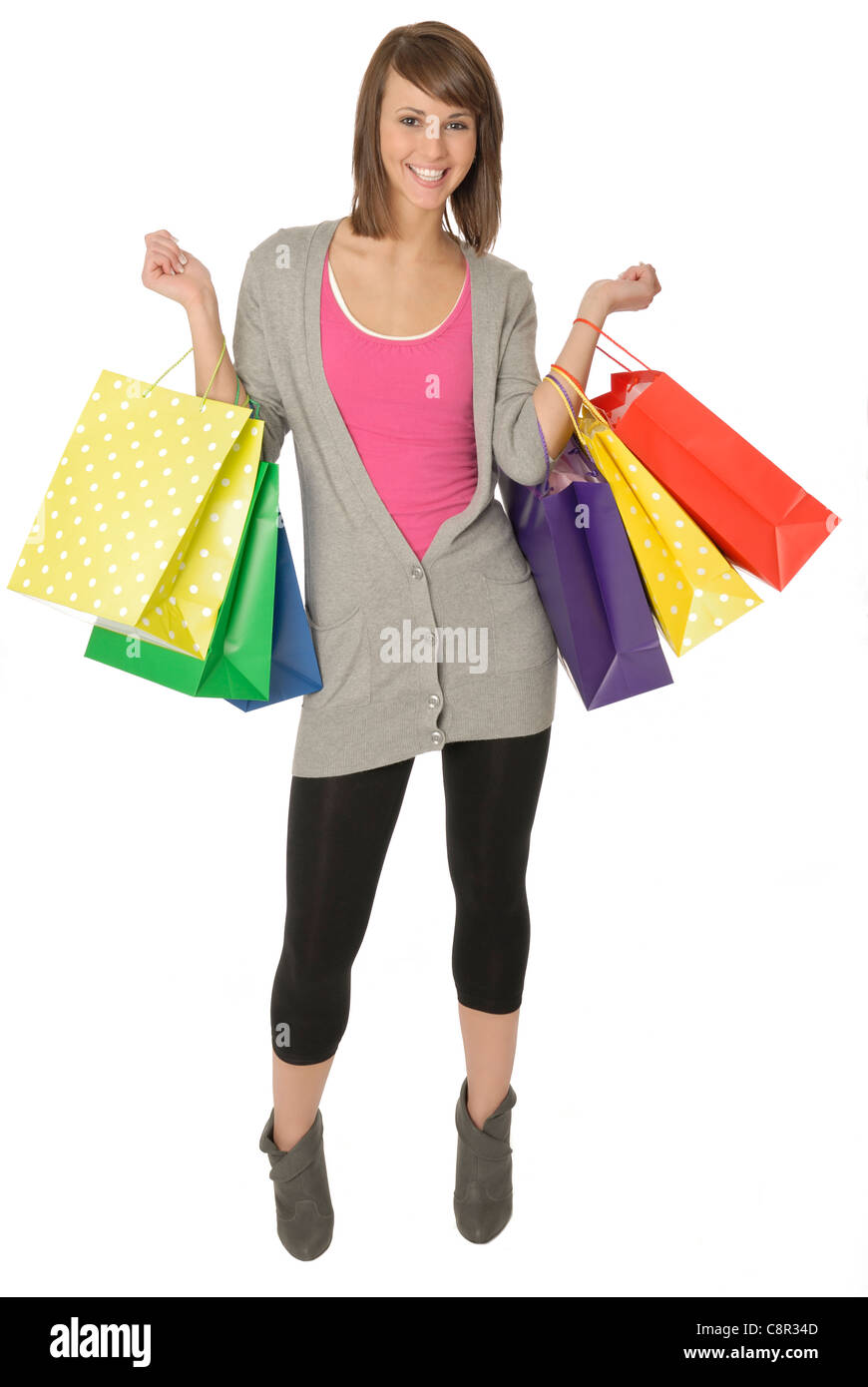 Pretty Young Woman With Colorful Shopping Bags - Stock Image