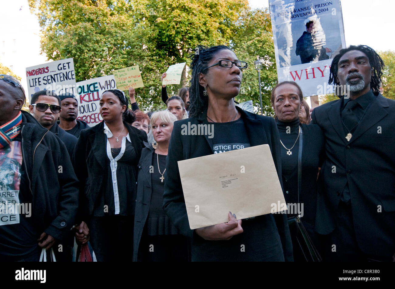 Families and friends of relatives who have died  in police custody march through London appeal for justice. - Stock Image