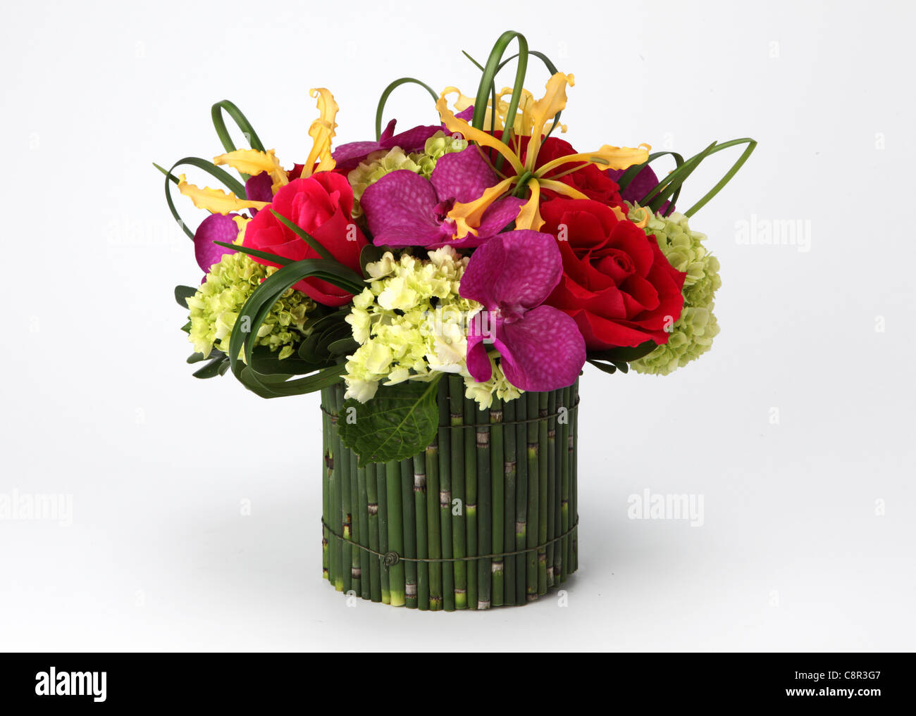 A colorful bouquet of flowers in a vase red roses cream hydrangea a colorful bouquet of flowers in a vase red roses cream hydrangea yellow orchid laelia purple orchid vanda izmirmasajfo