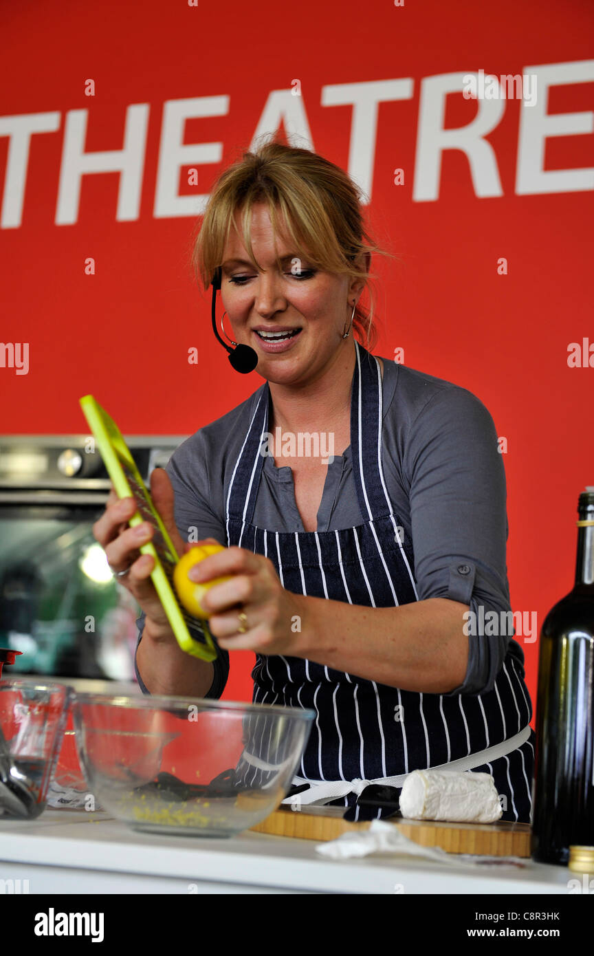 Celebrity Chef Rachel Allen hosts a cooking demo at the Taste Of Edinburgh food festival. - Stock Image
