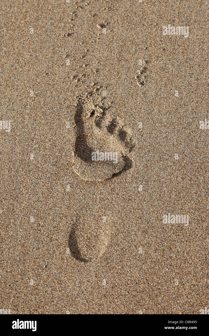 Bare Foot Footprint Print in Sand - Stock Image