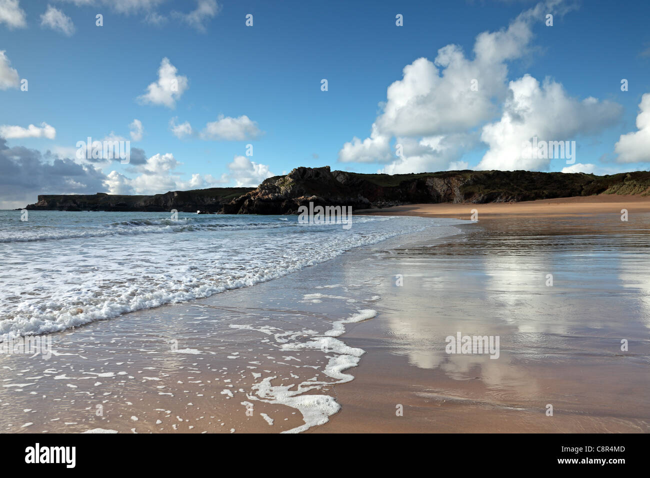 Broad Haven Beach and the View Towards St Govan's Head Pembrokeshire National Park Wales Cymru UK GB - Stock Image