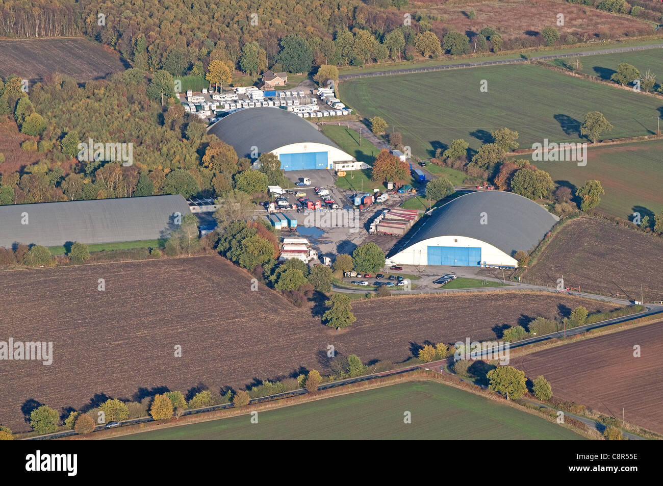 Aerial view of industrial units on the old Fradley Aerodrome or airfield near Lichfield Staffordshire England Stock Photo