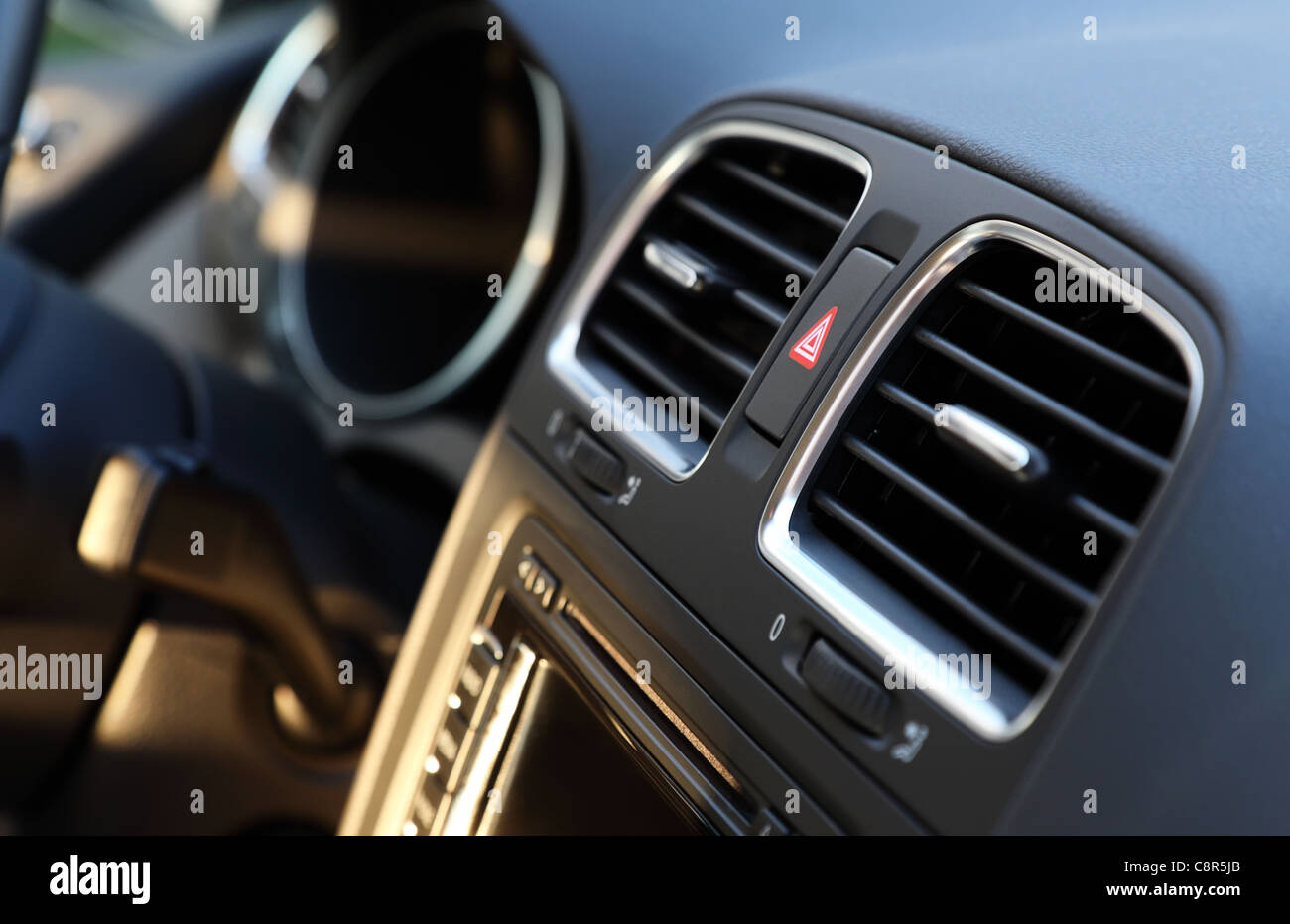 Modern car interior detail, cockpit with air system close-up. Shallow DOF. - Stock Image