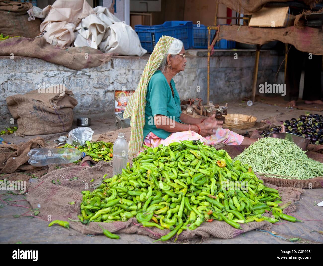 Vegetable market in Jodhpur, better know as the Sandar market - Stock Image