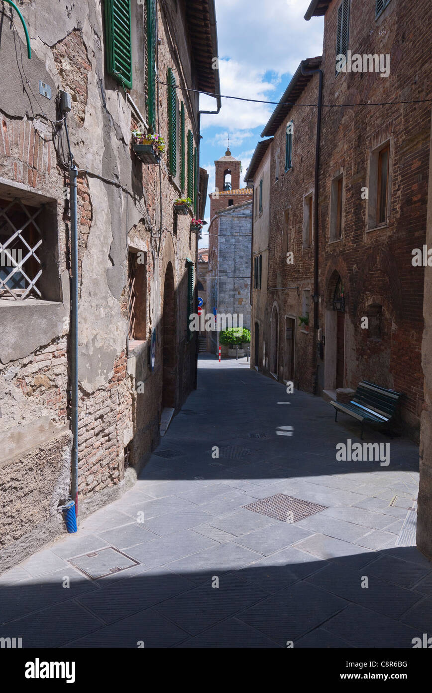 Typical view of a medieval walled city narrow street lined with multi-storied buildings in Chianciano Terme, Umbria, - Stock Image