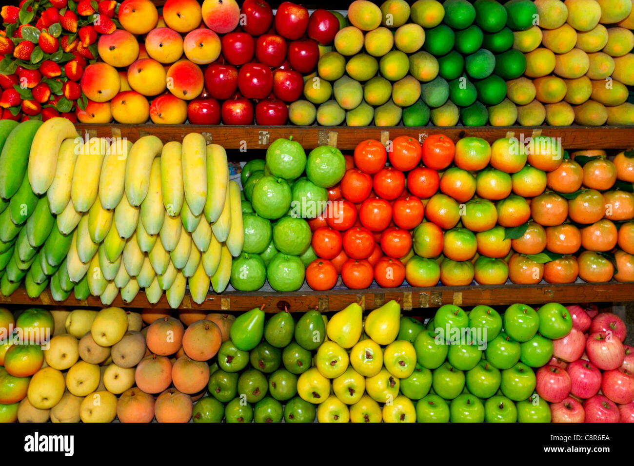 Fruits at Chatuchak market stall in Bangkok, Thailand - Stock Image