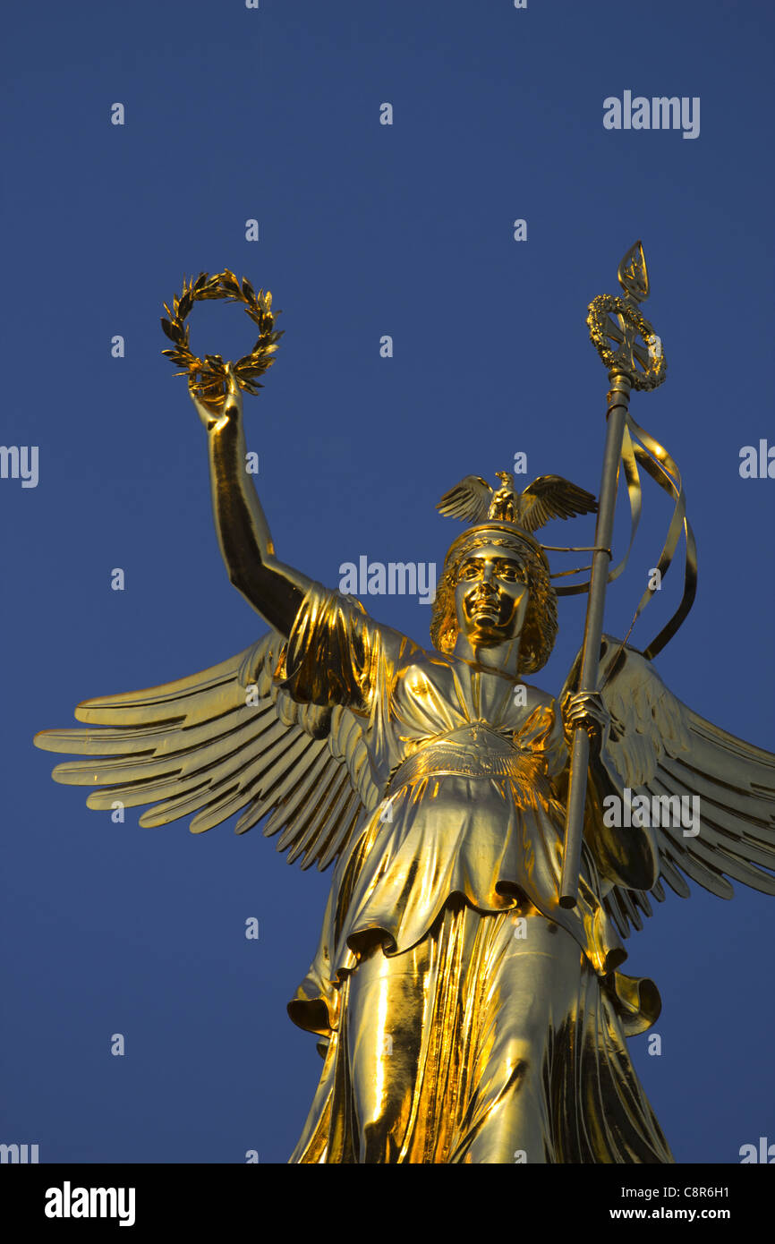Victory column with new gold , Berlin Stock Photo