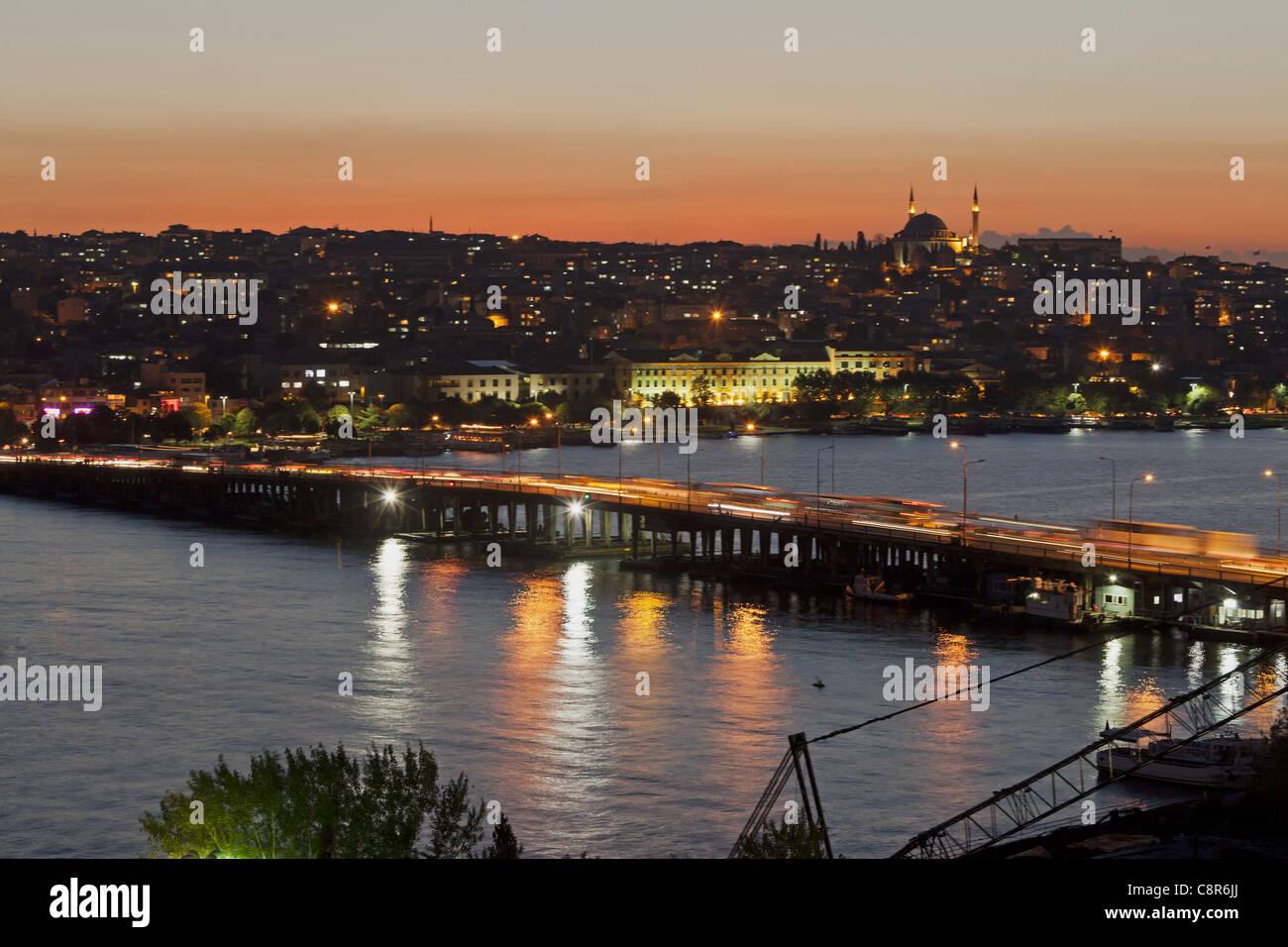 Golden Horn at sunset, Istanbul, Turkey - Stock Image