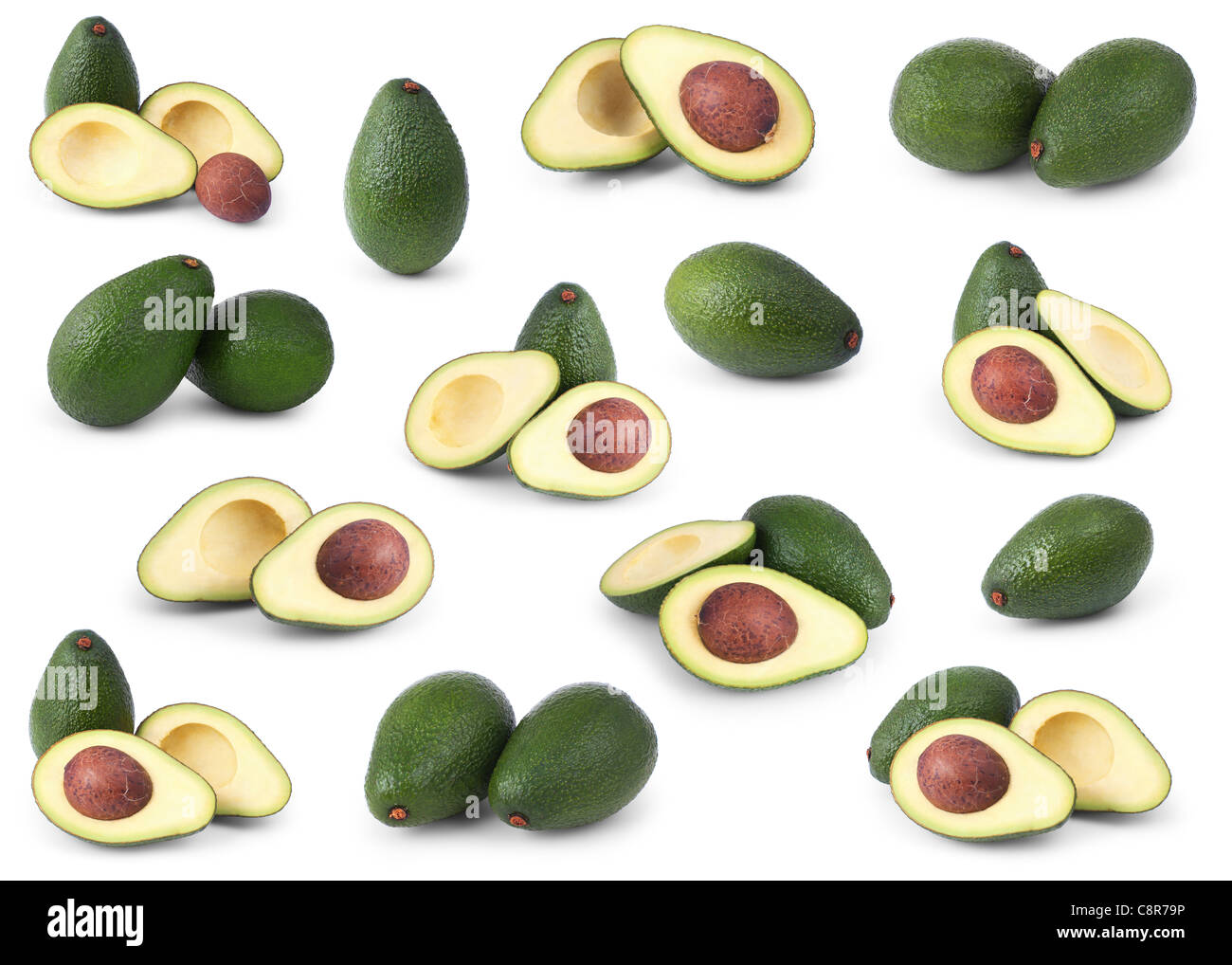 Set of avocados isolated over white background - Stock Image