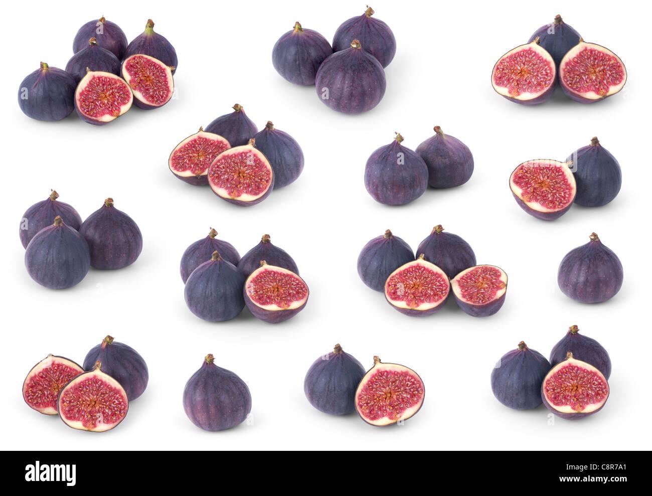 Set of figs isolated on white background - Stock Image