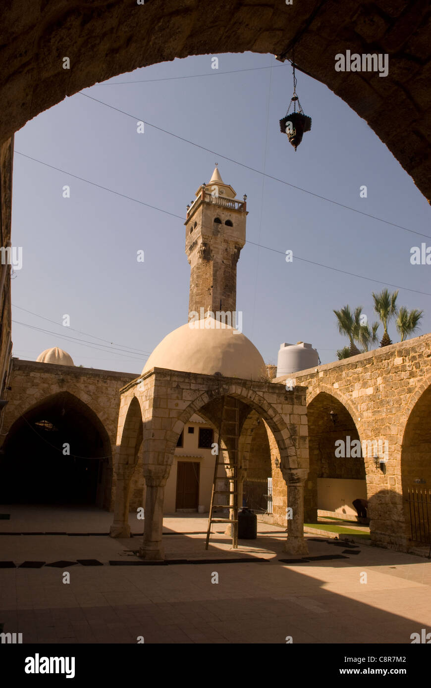 Courtyard of the 14th century Al Tawbat Mosque, old city, Tripoli, northern Lebanon. - Stock Image