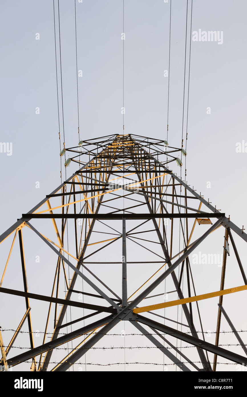 Electricity pylon and cables, Scotland. - Stock Image