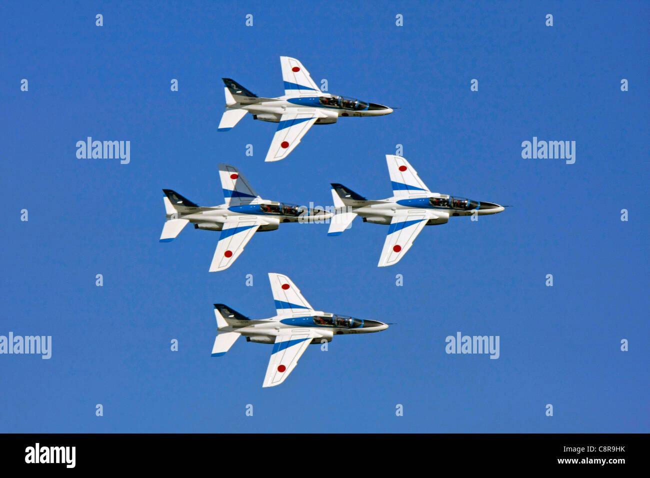 Aerobatic Demonstration Team of the Japan Air Self-Defense Force Blue Impulse Kawasaki T4 - Stock Image