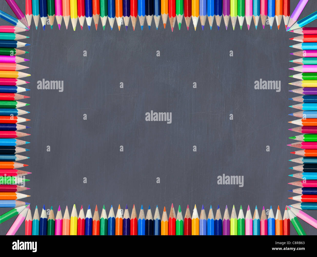 Blackboard framed with colored pencil - Stock Image