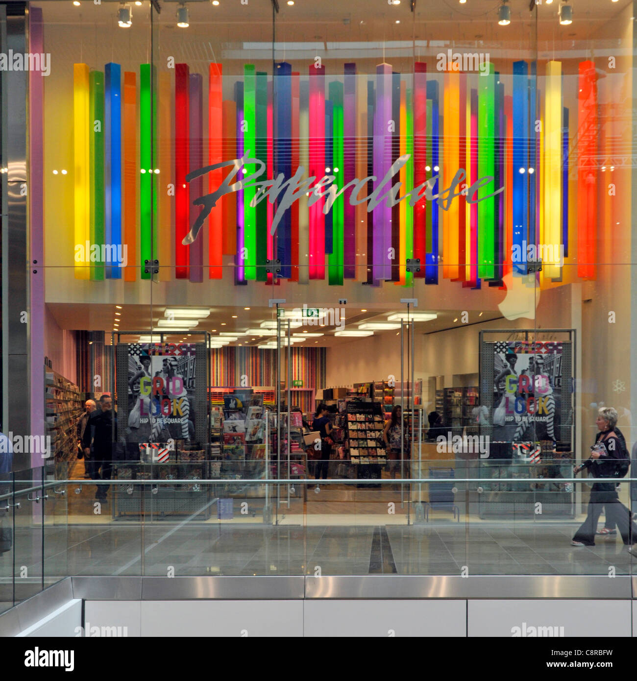 Colourful Paperchase stationery & greeting cards shop front in a mall at the Westfield shopping centre at Stratford - Stock Image