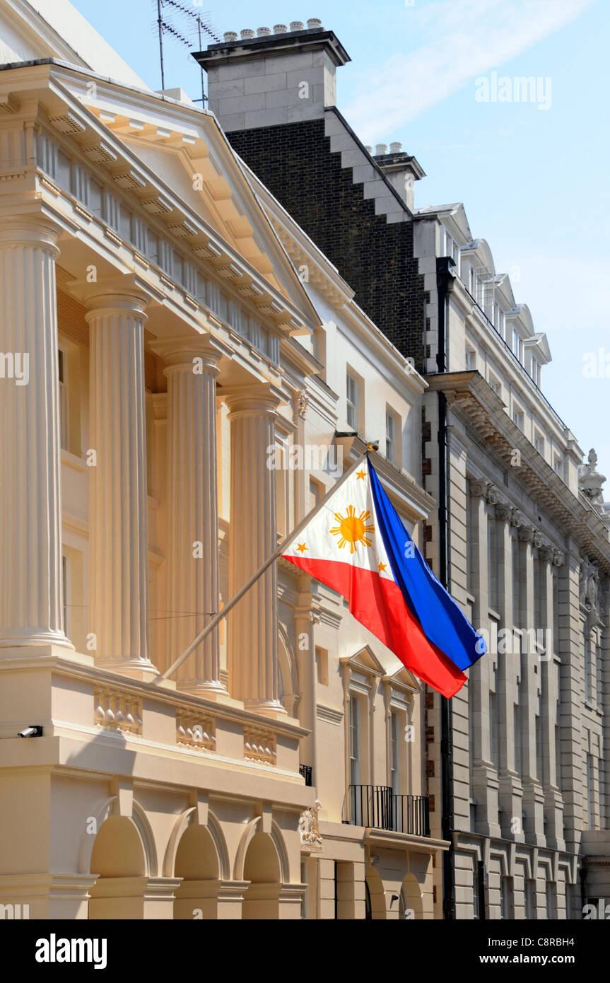 Philippine ambassadors embassy & national flag London England UK - Stock Image