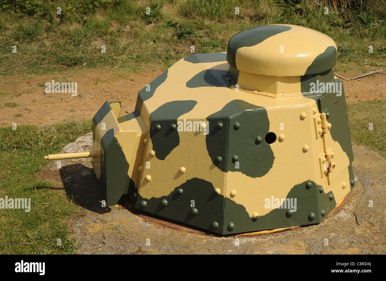 WW11 German used Renault Ft17 turret mounted in a Tobruk bunker at the restored Batterie Dollmann, Guernsey. - Stock Image