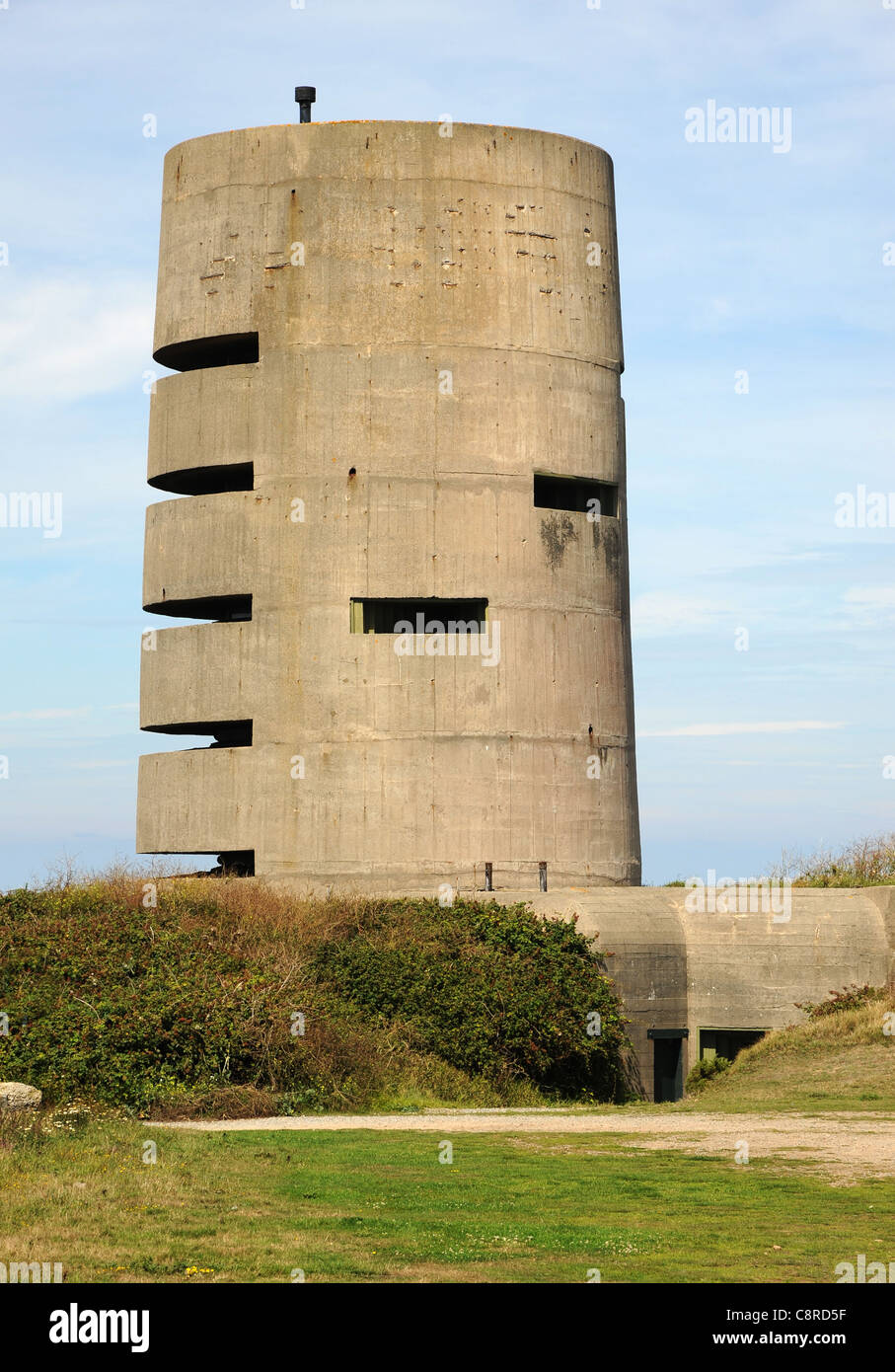 German artillery observation bunker. A part of the Atlantic Wall fortifications of the island of Guernsey, Channel - Stock Image