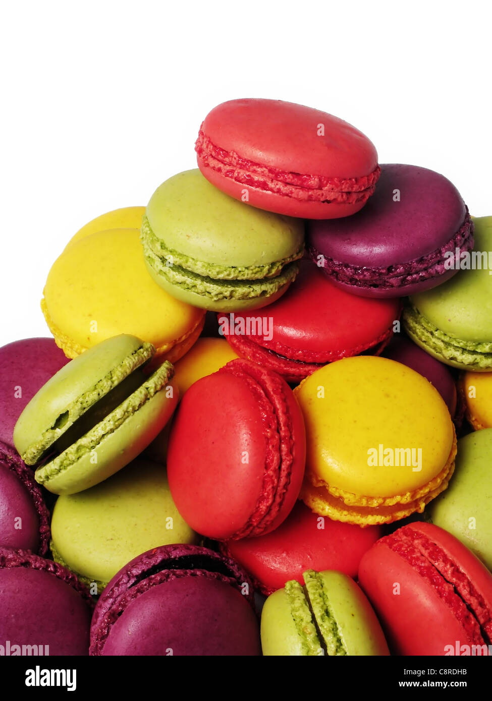 assortment of macaroons with a white background - Stock Image