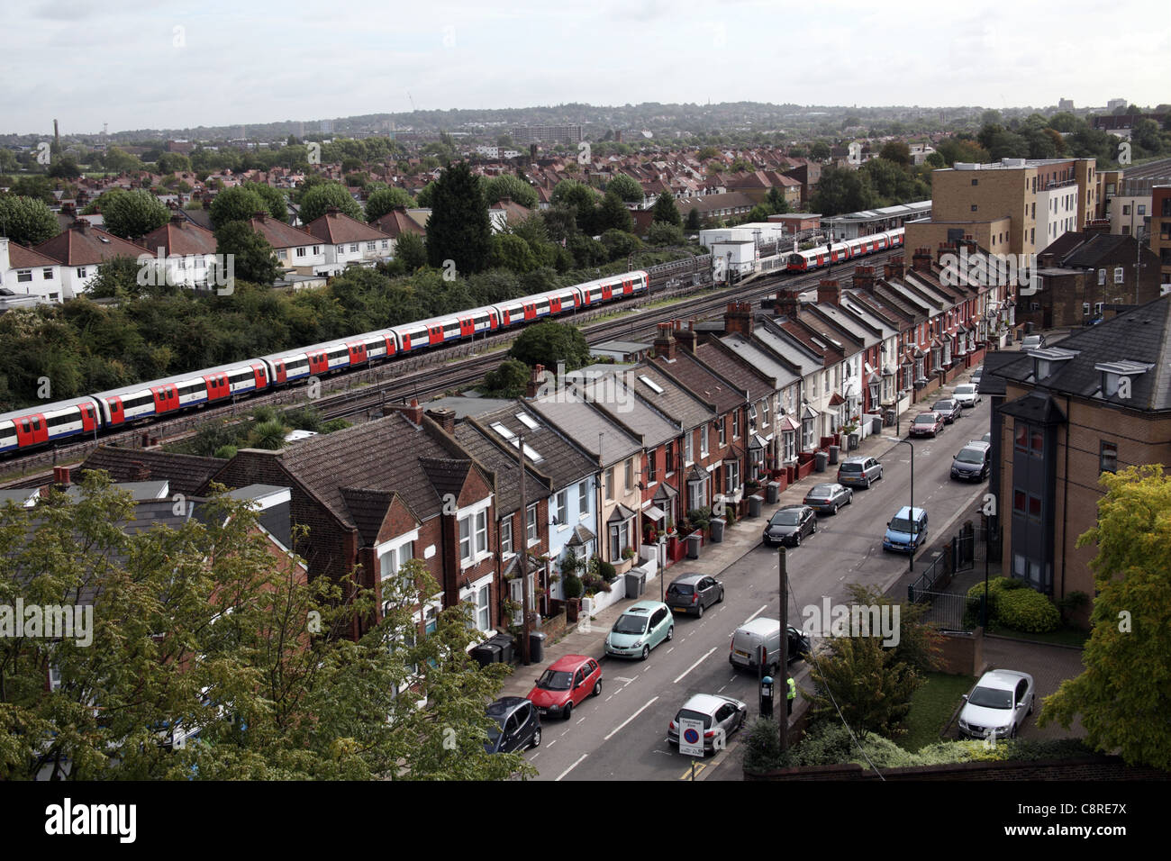 Terraced Housing in Willesden, North London - Stock Image