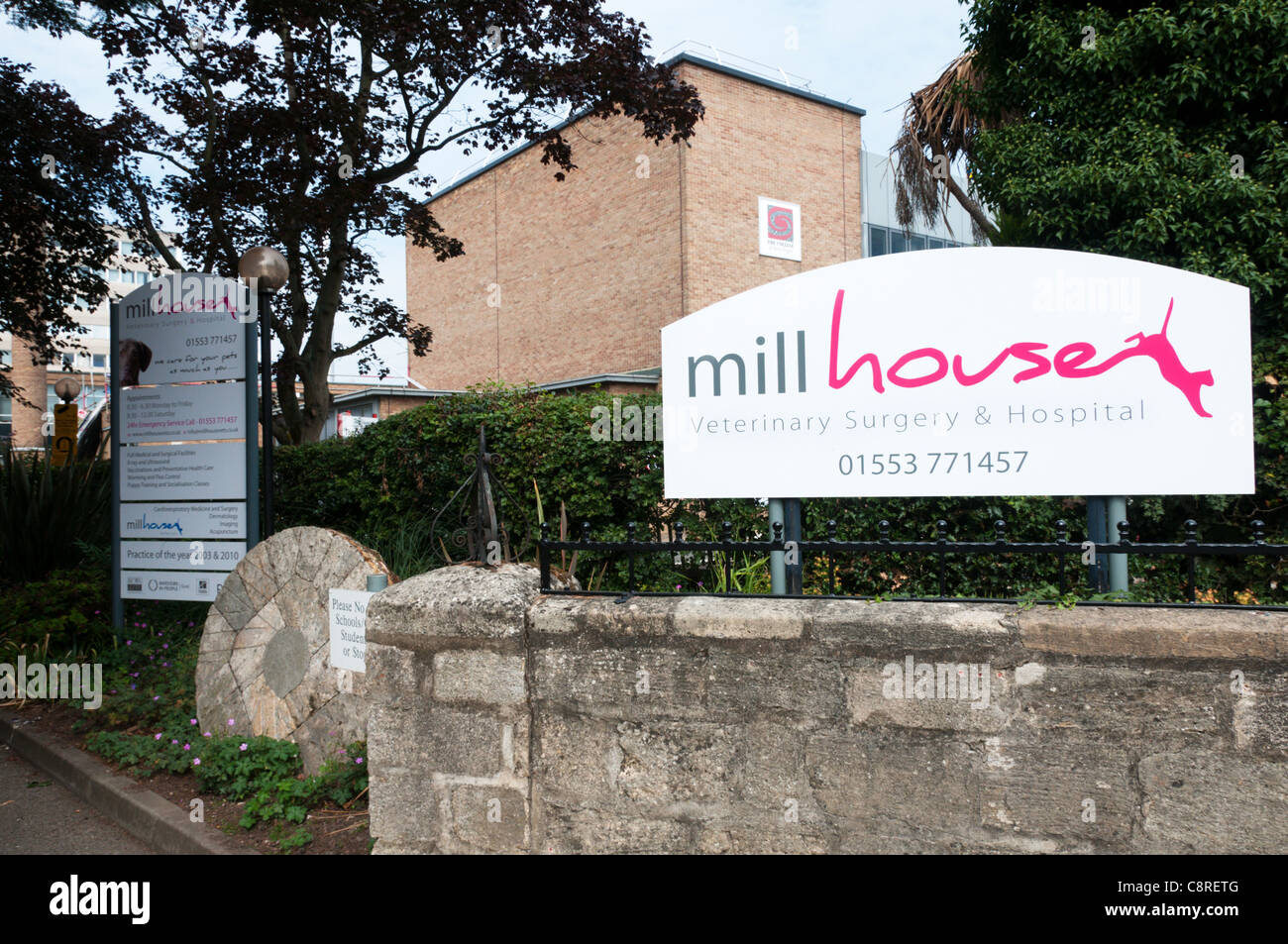Sign for Millhouse Veterinary Surgeons. - Stock Image