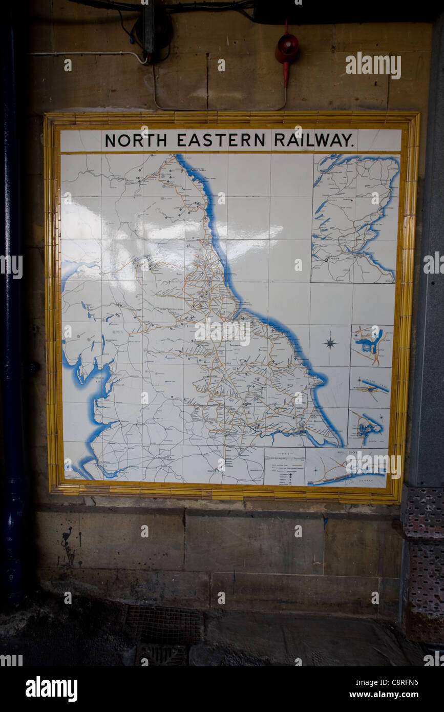Old map of North Eastern railway routes, Scarborough, Yorkshire, England - Stock Image