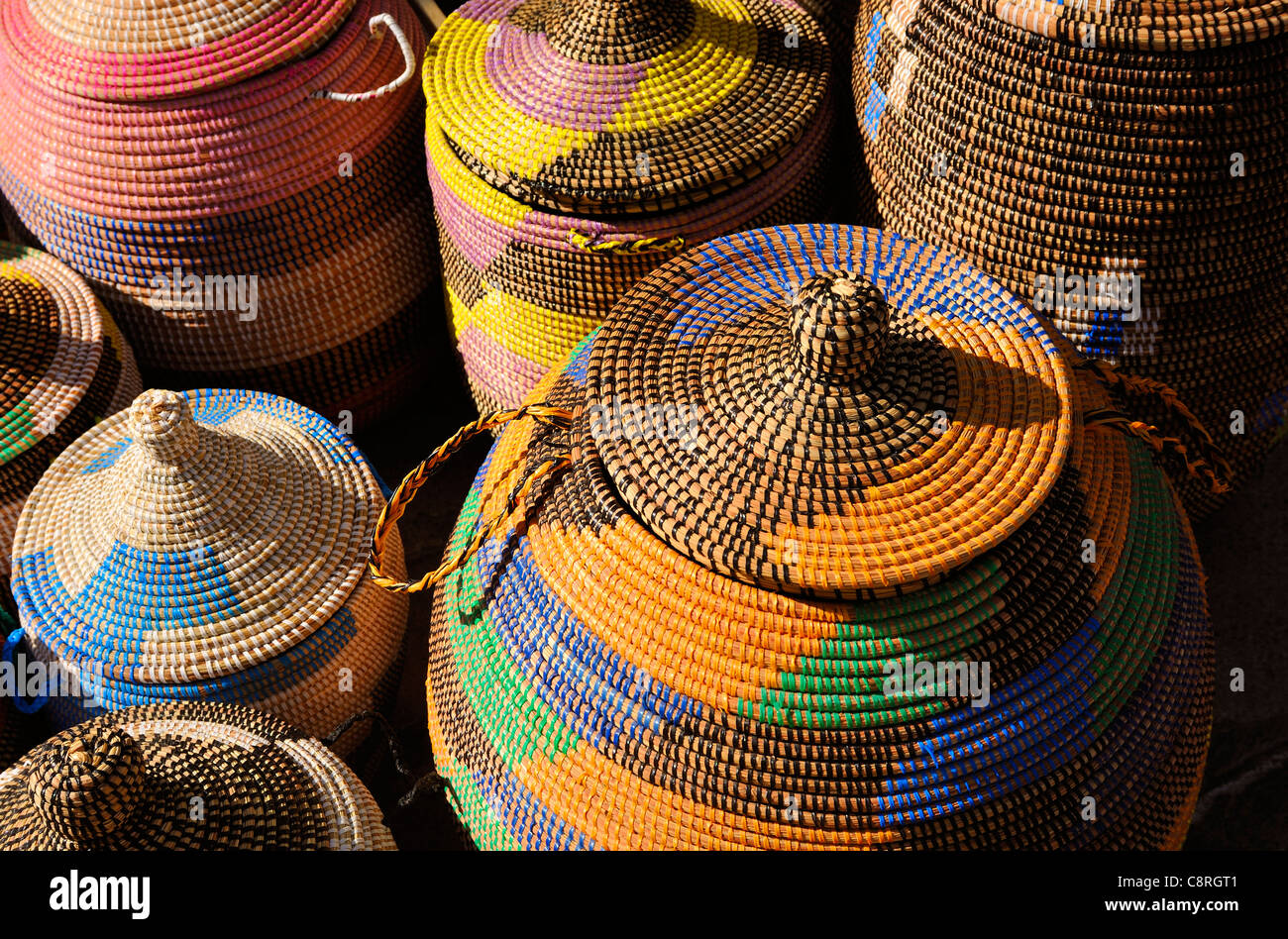 COLOURFUL COLORFUL WOVEN BASKETS IN A STREET MARKET SPAIN ESPANA - Stock Image