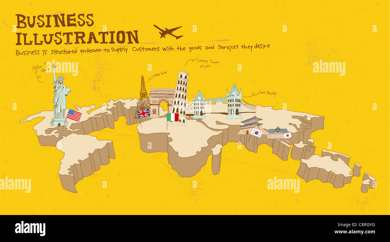 Illustration Of Famous Places Around World
