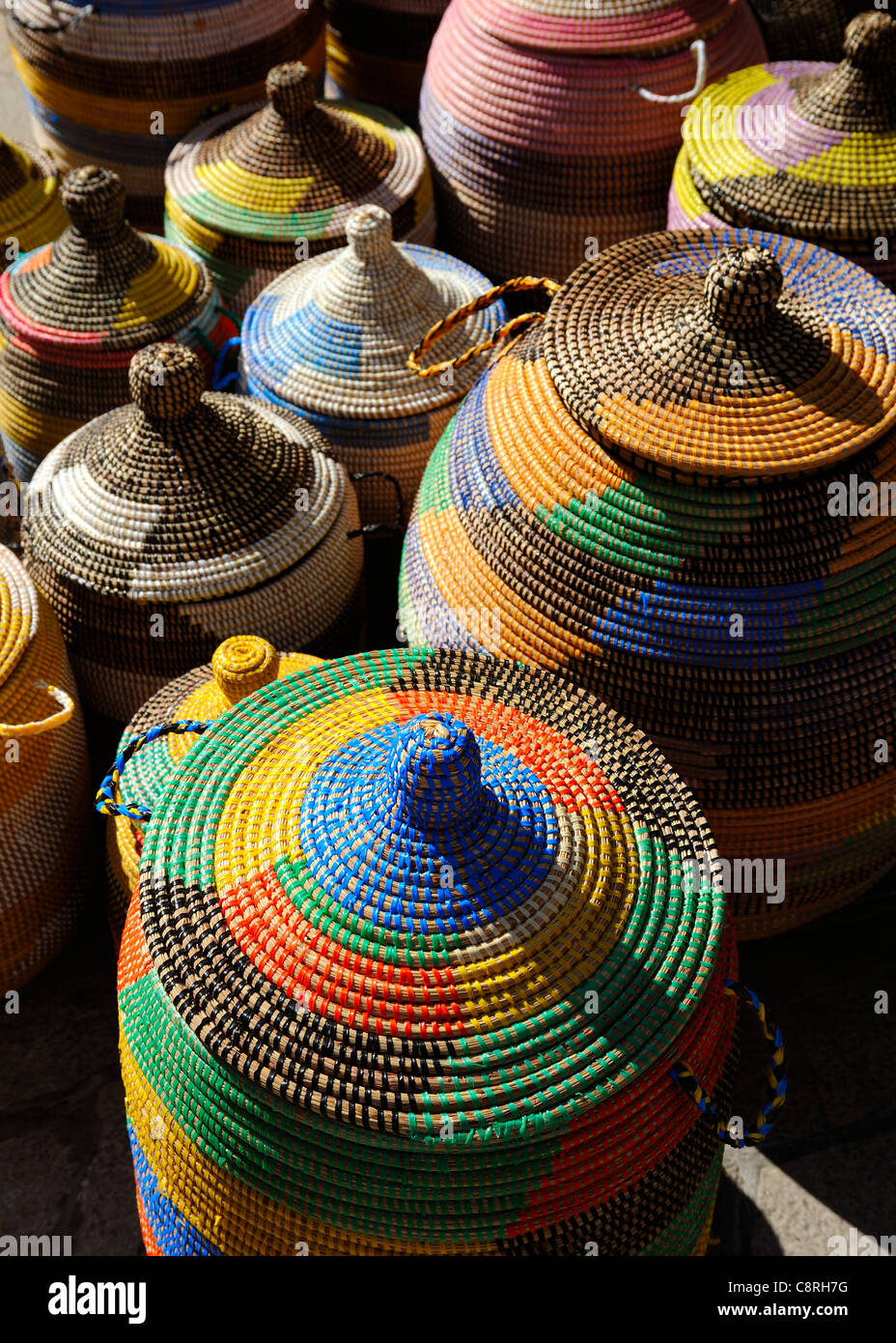 COLOURFUL WOVEN BASKETS IN A STREET MARKET MALLORCA MAJORCA SPAIN ESPANA -  Stock Image 6d73bf728b2f