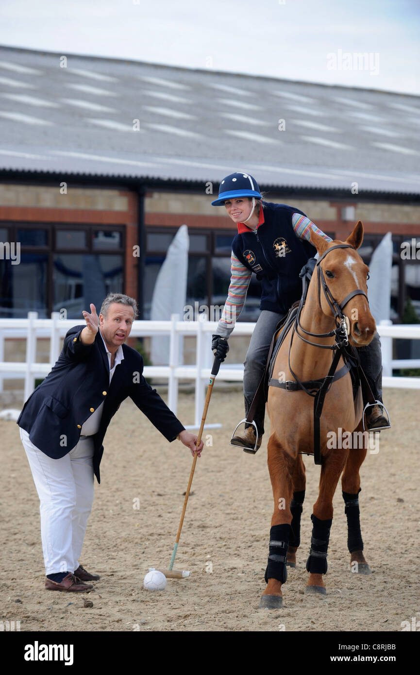 Learning to play polo with Mike Hobday, Chairman of Universities Polo UK - Stock Image