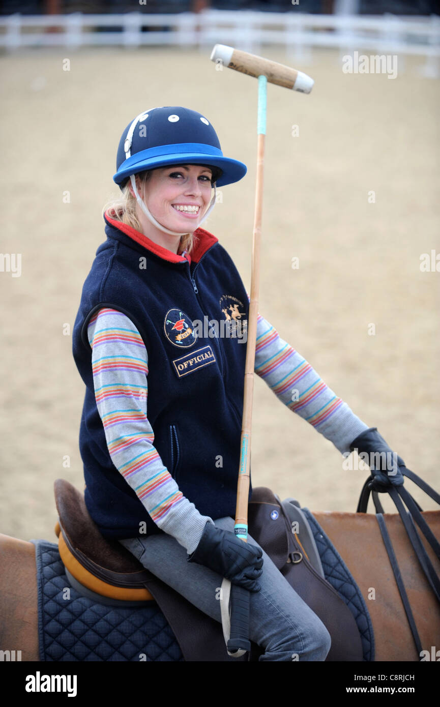 Re.Learning to play polo with Mike Hobday, Chairman of Universities Polo UK - Stock Image