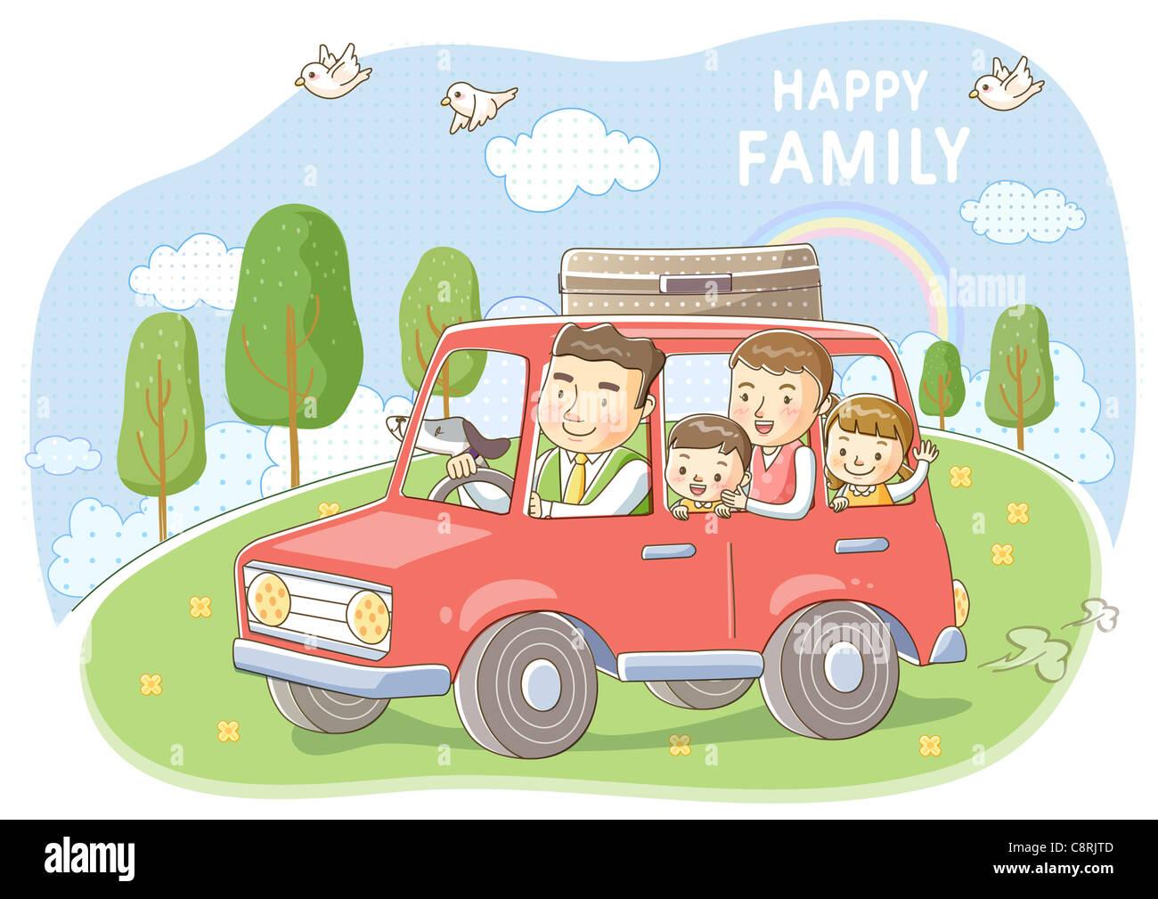 картинки семья едет на машине декабре