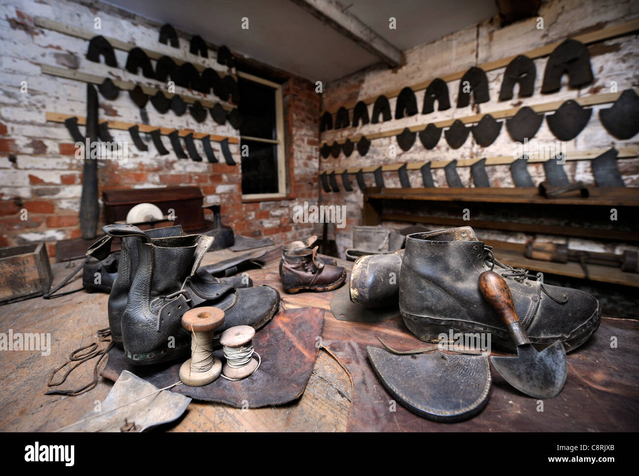 A cobblers at the Shambles Victorian Village in Newent, Gloucestershire - a museum of Victoriana UK 2009 - Stock Image