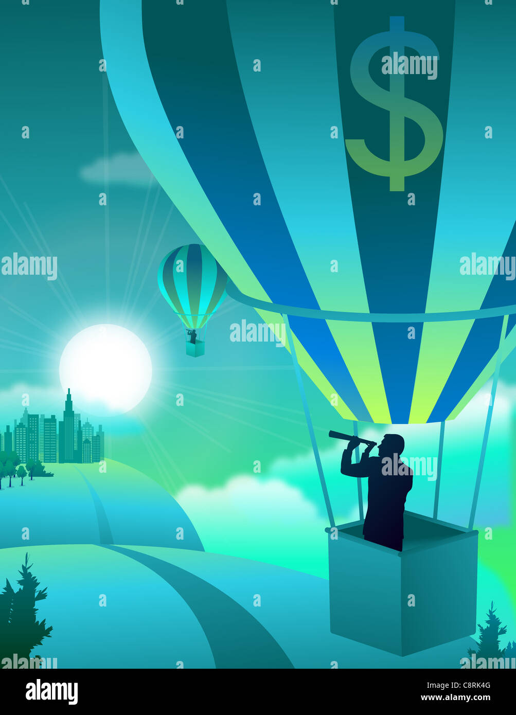 Illustration of man with telescope in parachute - Stock Image