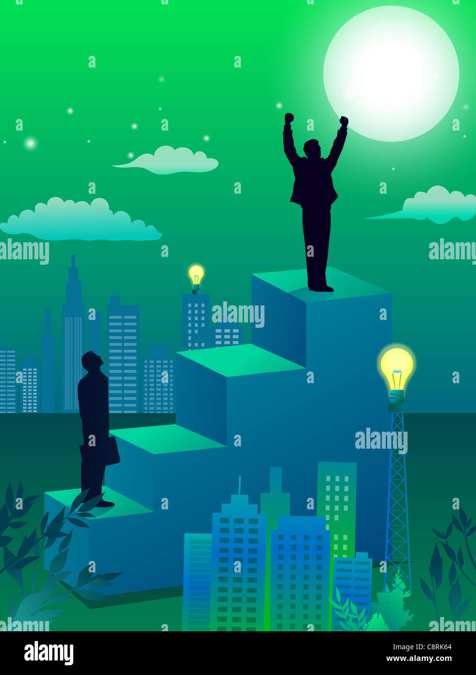 Illustration of city and two men standing high on steps - Stock Image