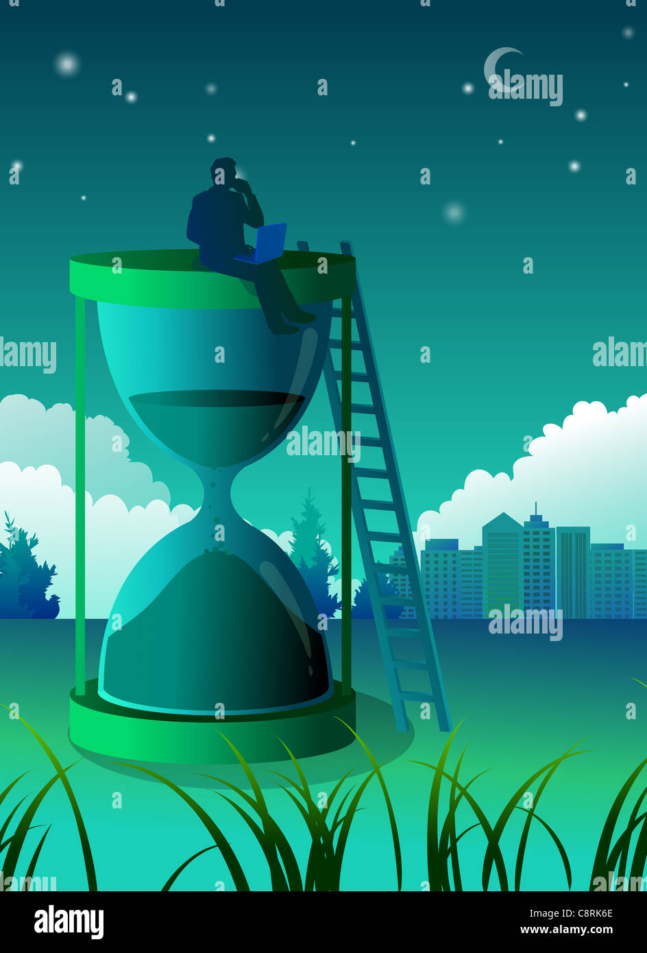 Illustration of  man sitting on top of hourglass - Stock Image