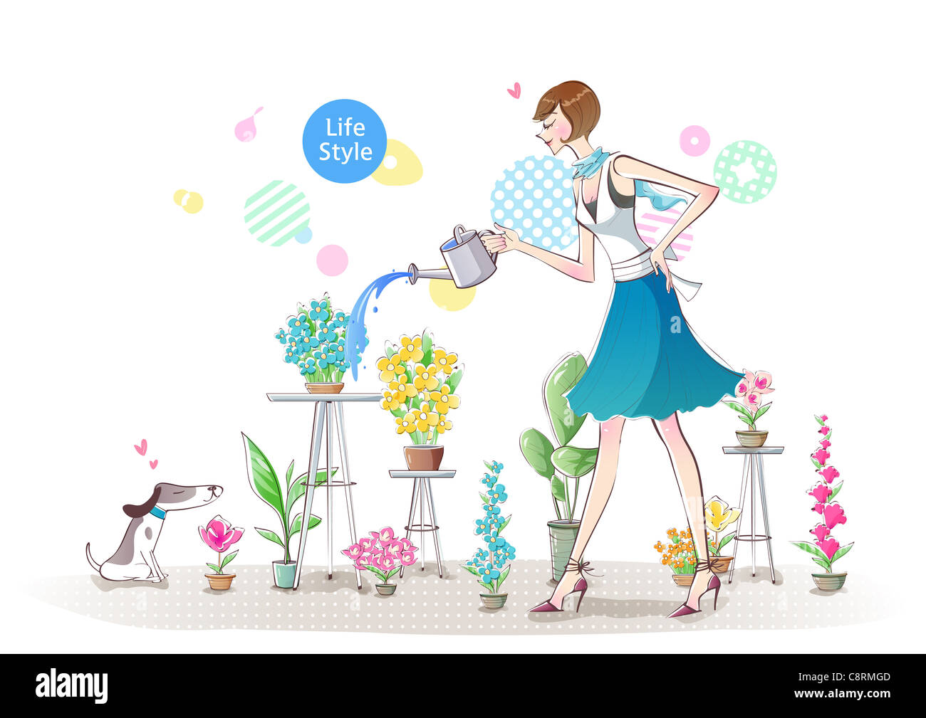 Illustration of woman watering flowers - Stock Image