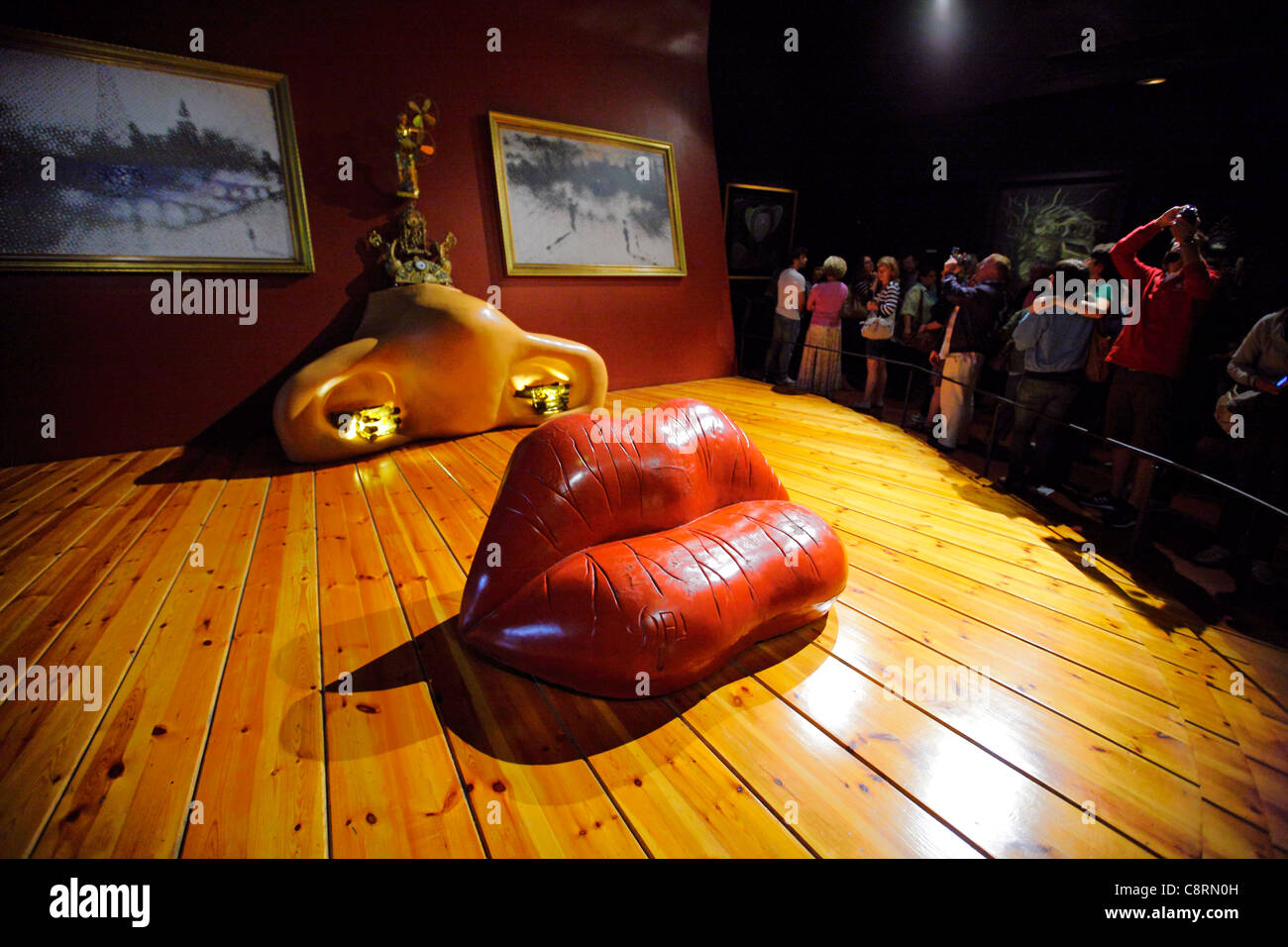Mae West Room, sculptural installation displayed at Theatre-Museum of Salvador Dali. Figueres, Catalonia, Spain. - Stock Image