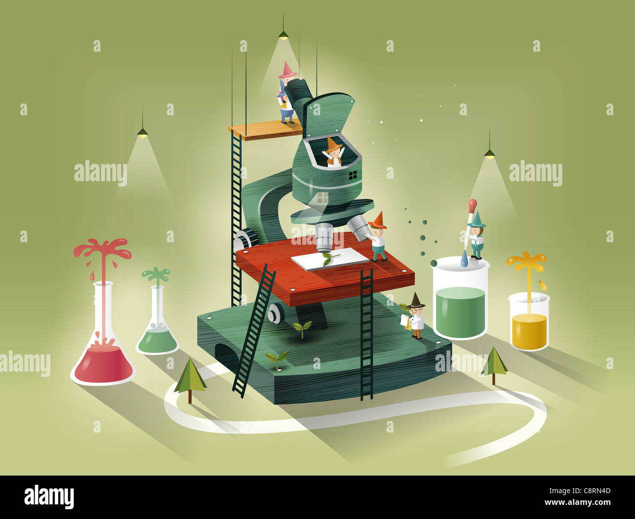 People On Microscope - Stock Image