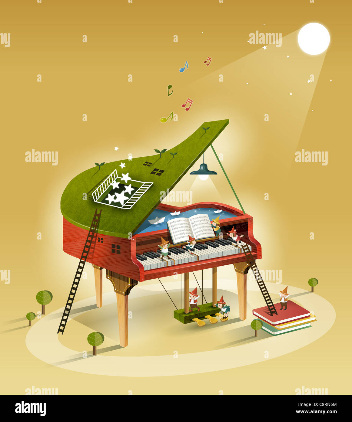People Playing Piano - Stock Image