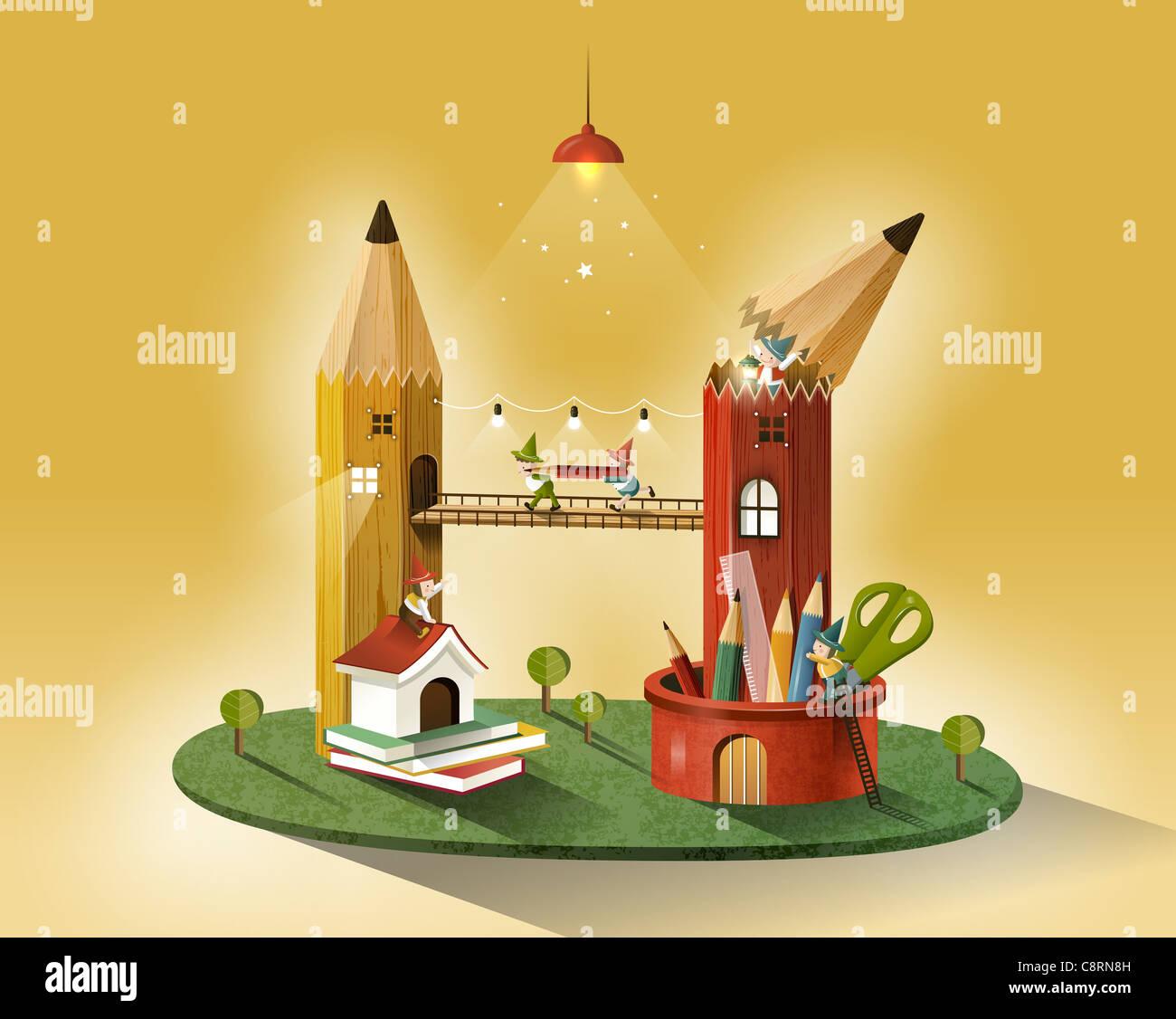 Pencil Bridge And Books - Stock Image