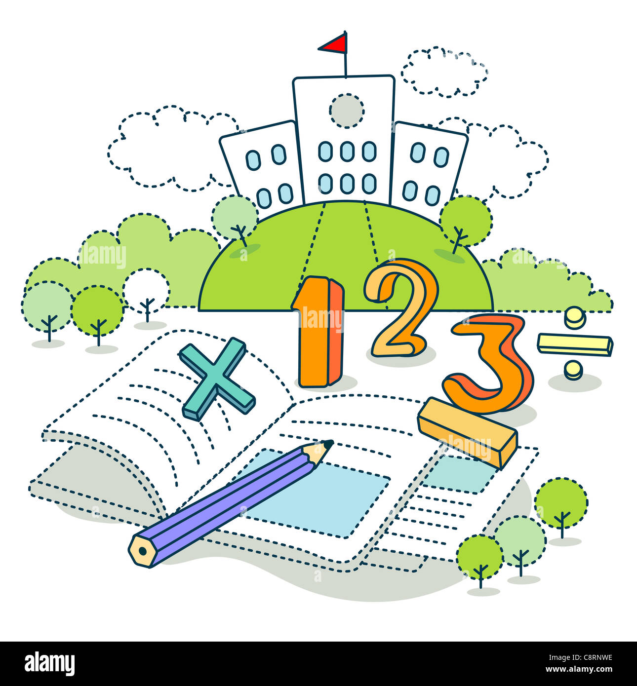 Math Symbols On Book With School In The Background Stock Photo
