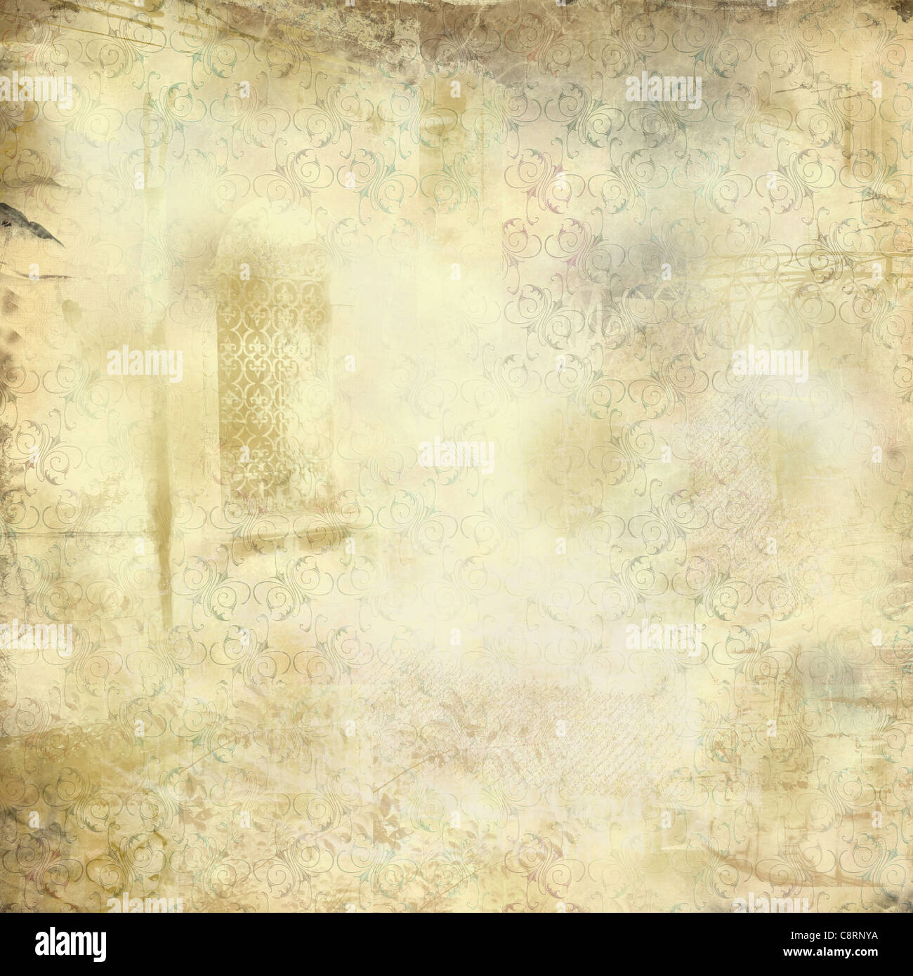 Grunge vintage texture with stylized floral pattern and  faded images in sepia  and yellow tones. - Stock Image