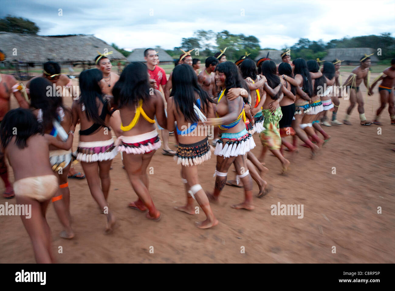 traditional dance by Xingu indians in the Amazone, Brazil ... Xingu Tribes