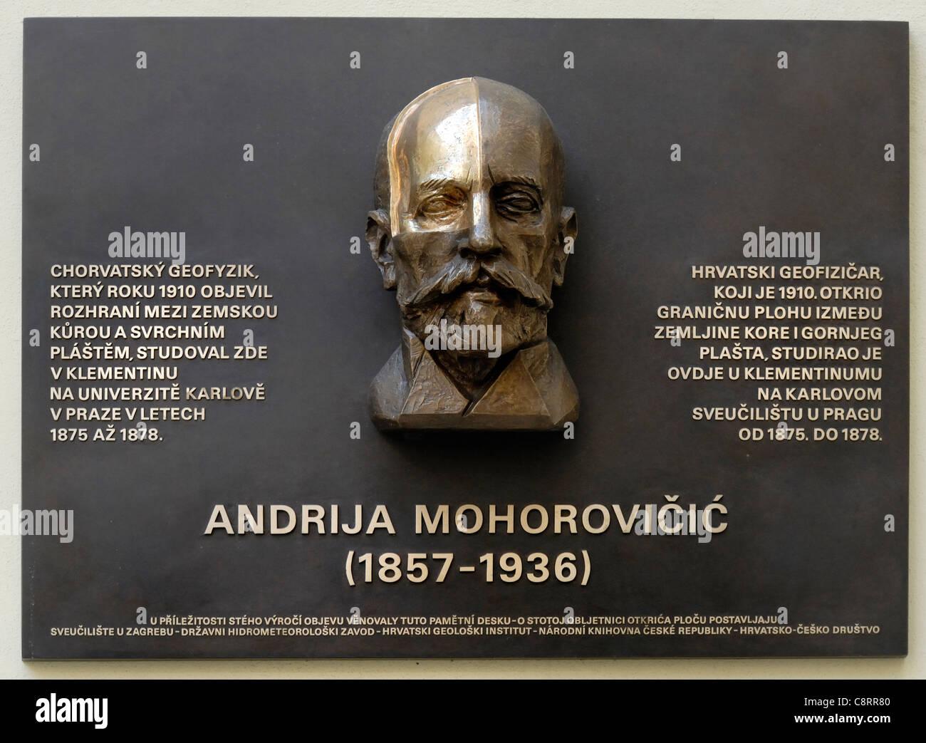 Prague, Czech Republic. Clementinum / Klementinum. Commemorative plaque to Andrija Mohorovicic (1857-1936) Croatian - Stock Image