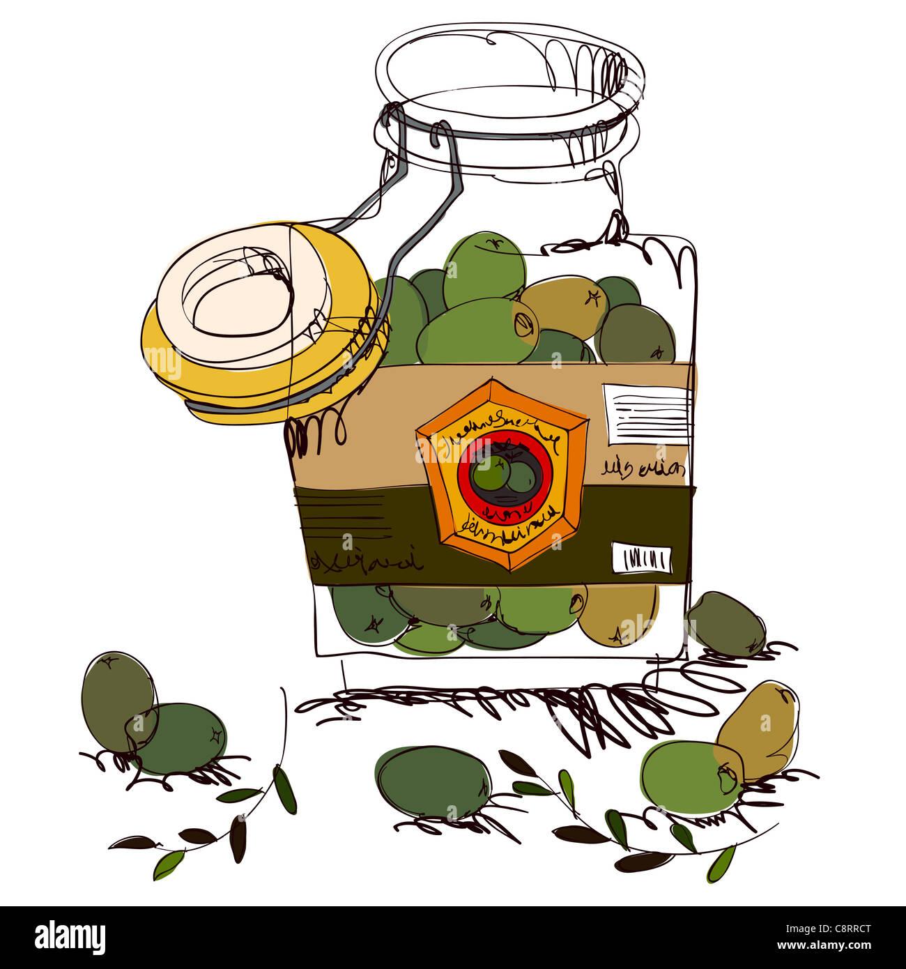 Giant Green Olive In Jar - Stock Image
